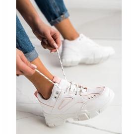 SHELOVET Modne Białe Sneakersy różowe 3