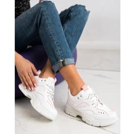 SHELOVET Modne Białe Sneakersy różowe 4