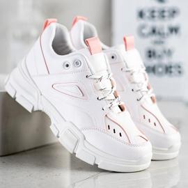 SHELOVET Modne Białe Sneakersy różowe 1