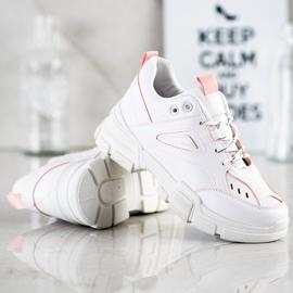 SHELOVET Modne Białe Sneakersy różowe 2
