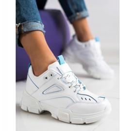 SHELOVET Modne Białe Sneakersy niebieskie 3