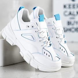 SHELOVET Modne Białe Sneakersy niebieskie 1