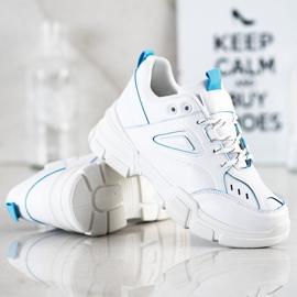 SHELOVET Modne Białe Sneakersy niebieskie 2