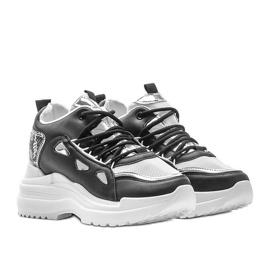 Biało czarne sneakersy snake 3170 białe srebrny 1