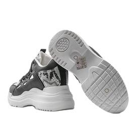 Biało czarne sneakersy snake 3170 białe srebrny 2