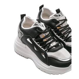 Biało czarne sneakersy snake 3170 białe srebrny 3