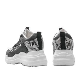 Biało czarne sneakersy snake 3170 białe srebrny 4