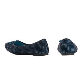 Niebieskie baleriny materiałowe Del Amor czarne 1