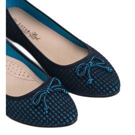 Niebieskie baleriny materiałowe Del Amor czarne 3
