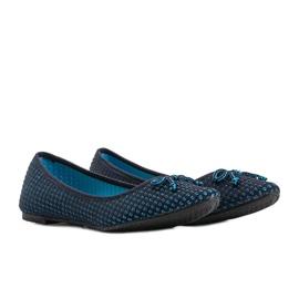 Niebieskie baleriny materiałowe Del Amor czarne 4