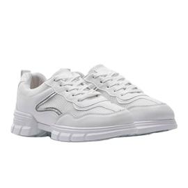 Białe sneakersy sportowe 3157 srebrny 1