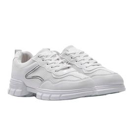 Białe sneakersy sportowe 3157 srebrny 4