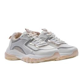 Biało Beżowe sneakersy sportowe 9796 beżowy białe szare złoty 1