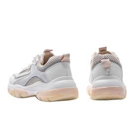 Biało Beżowe sneakersy sportowe 9796 beżowy białe szare złoty 2