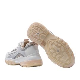 Biało Beżowe sneakersy sportowe 9796 beżowy białe szare złoty 3