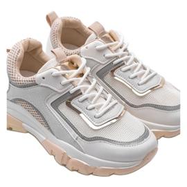 Biało Beżowe sneakersy sportowe 9796 beżowy białe szare złoty 4