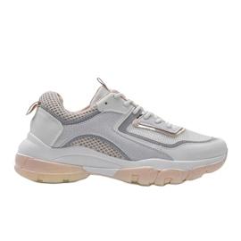 Biało Beżowe sneakersy sportowe 9796 beżowy białe szare złoty 5
