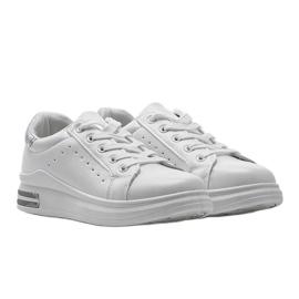 Biało srebrne sneakersy sportowe LDH003 białe srebrny szare 1