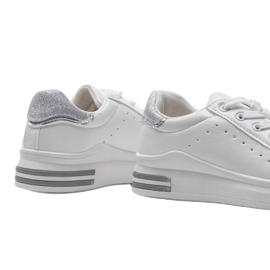 Biało srebrne sneakersy sportowe LDH003 białe srebrny szare 3