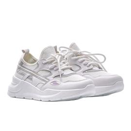 Białe sneakersy sportowe Lativia szare 1