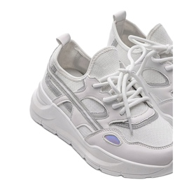 Białe sneakersy sportowe Lativia szare 3