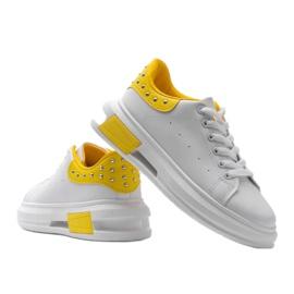 Biało żółte sneakersy damskie Taranto białe 2