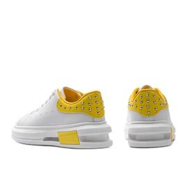 Biało żółte sneakersy damskie Taranto białe 3