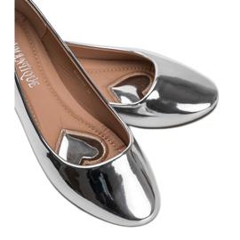 Srebrne metaliczne baleriny India srebrny 3