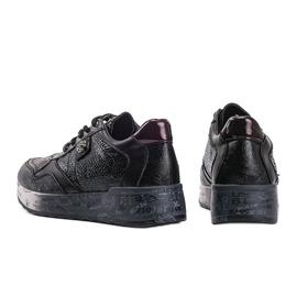 Czarne sneakersy na koturnie Ayanna 1