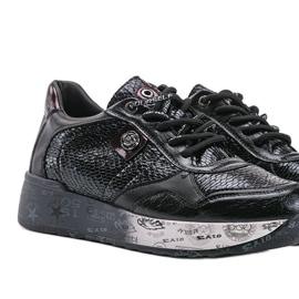 Czarne sneakersy na koturnie Ayanna 2