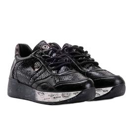 Czarne sneakersy na koturnie Ayanna 4