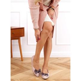 Baleriny damskie lakierowane beżowo-różowe 98-37 Nude beżowy 2