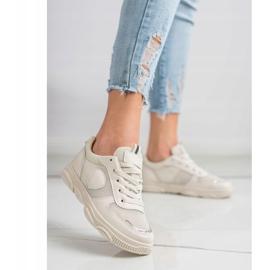 Ideal Shoes Beżowe Sneakersy Z Siateczką beżowy 2