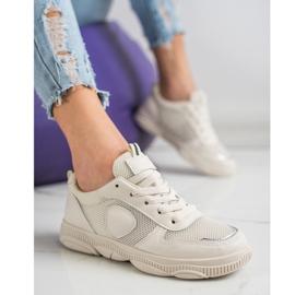 Ideal Shoes Beżowe Sneakersy Z Siateczką beżowy 1