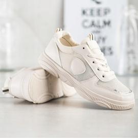 Ideal Shoes Beżowe Sneakersy Z Siateczką beżowy 3