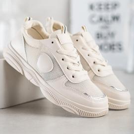 Ideal Shoes Beżowe Sneakersy Z Siateczką beżowy 4