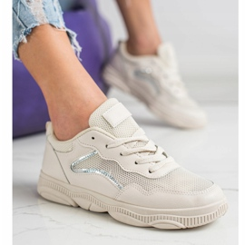Ideal Shoes Casualowe Beżowe Sneakersy beżowy 2