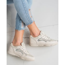 Ideal Shoes Casualowe Beżowe Sneakersy beżowy 3