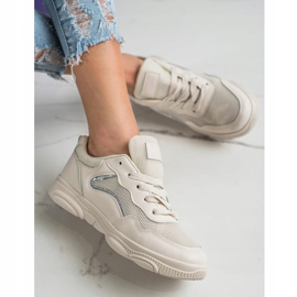 Ideal Shoes Casualowe Beżowe Sneakersy beżowy 4