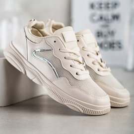 Ideal Shoes Casualowe Beżowe Sneakersy beżowy 1