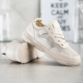 Ideal Shoes Casualowe Beżowe Sneakersy beżowy 5