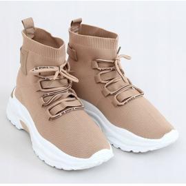 Buty sportowe za kostkę skarpetkowe beżowe B0-676 Beige beżowy 1