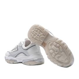 Białe sneakersy sportowe 9796 szare 2