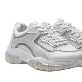 Białe sneakersy sportowe 9796 szare 3