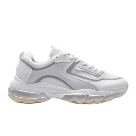 Białe sneakersy sportowe 9796 szare 4