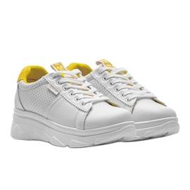 Biało żółte sneakersy sportowe BO-529 białe 1