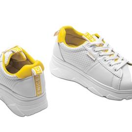 Biało żółte sneakersy sportowe BO-529 białe 2