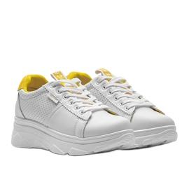 Biało żółte sneakersy sportowe BO-529 białe 3