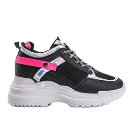 Czarne sneakersy na grubej podeszwie Johana 4