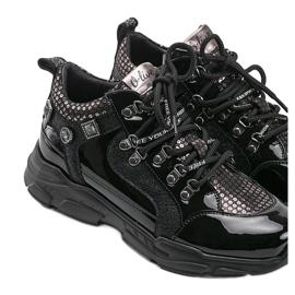 Czarne sneakersy na koturnie Giovanna 4